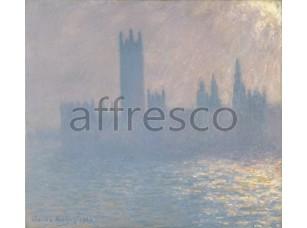 Картина: Клод Моне, Здание парламента, эффект солнечного света в тумане