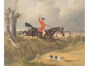 Картина: John Frederick Herring, Foxhunting Clearing a Ditch