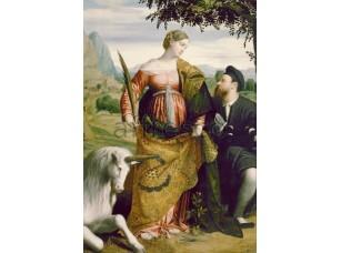 Картина: Моретто да Брешиа, Святая Юстина с единорогом