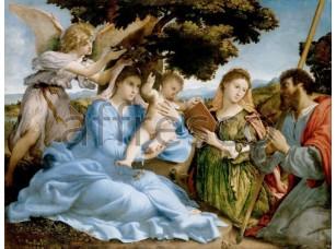 Картина: Лоренцо Лотто, Мадонна с младенцем и святыми Екатериной и Томасом