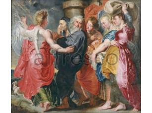 Картина: Якоб Йорданс, Бегство Лота и его семьи из Содома