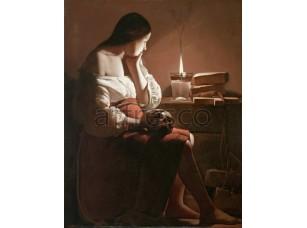 Картина: Жорж де Латур, Магдалина со свечой