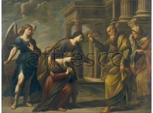 Картина: Андреа Ваккаро, Рагуил благословляет свою дочь Сару, покидающую Экбатану с Тобиасом