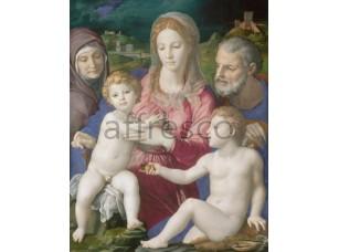 Картина: Аньоло Бронзино, Святое семейство со святой Анной и Иоанном Крестителем