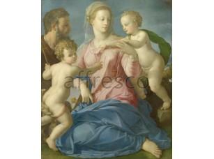 Картина: Аньоло Бронзино, Святое семейство с младенцем Иоанном Крестителем