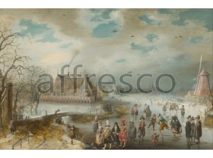 Картина: Адам ван Брин, Катание на коньках по замерзшей реке Амстел