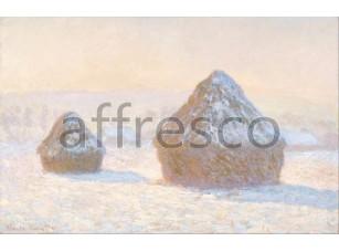 Картина: Клод Моне, Стог утром, эффект снега 3