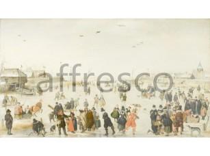 Обои и панно, Картина: Хендрик Аверкамп, Зимний пейзаж с конькобежцами