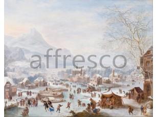 Картина: Джон Гриффир, Зимний пейзаж с конькобежцами