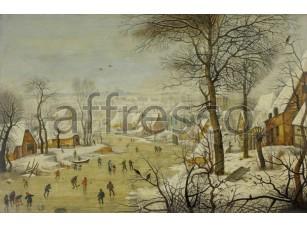 Картина: Питер Брейгель, Зимний пейзаж с конькобежцами и ловушкой для птиц