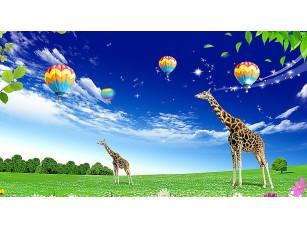 Фотообои «Воздушные шары над жирафами»