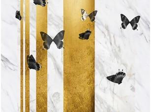 Фотообои «Бабочки на сером мраморе»