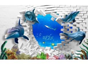 Фотообои «Дельфины выплывают из стены»