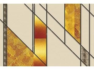 Фотообои «Абстрактный бежевый узор с черными линиями и золотым стеклом»