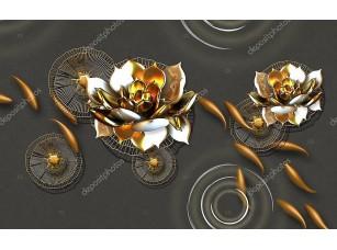 Фотообои «Абстрактные золотые рыбки, золотые водяные лилии»
