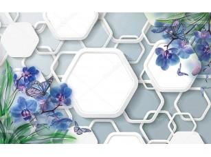 Фотообои «3d иллюстрация, серый фон, белые шестиугольники, синие орхидеи и бабочки»
