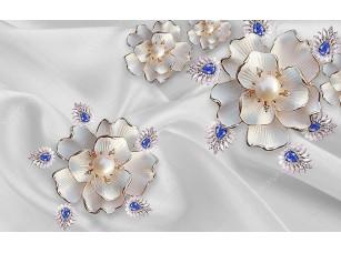 Фотообои «Абстрактные цветы с жемчугом и кристаллами»