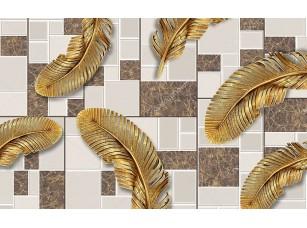 Фотообои «3d иллюстрация, черепичение фон, большие золотые перья»