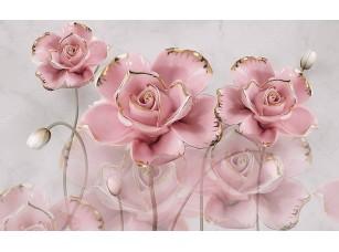 Фотообои «3d иллюстрация, серый мраморный фон, большие розовые позолоченные розы»
