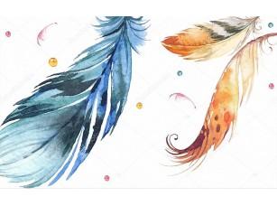 Фотообои «Абстрактная иллюстрация, белый фон, разноцветные шары, большие нарисованные перья»
