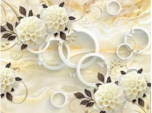 Фотообои «Бежевый мраморный фон, белые кольца, светлые  цветы с темными листьями»