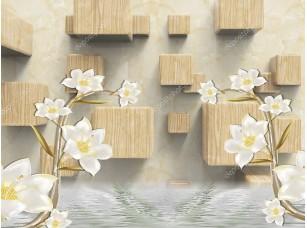 Фотообои «Бежевый мраморный фон, деревянные кубики, две ветви лилий»