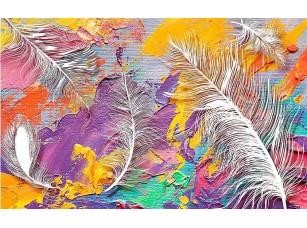 Фотообои «3d иллюстрация, яркий пятнистый фон ткани, большие белые перья»