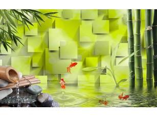 Фотообои «3D зеленый фон, бамбук, вода, Золотая рыбка»