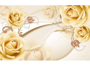 Фотообои «3D бежевый фон с розами»