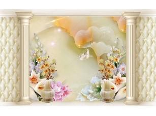 Фотообои «Абстрактный фон, цветы, колонны»