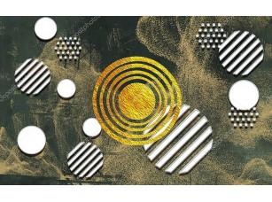 Фотообои «Абстракция из белого и золотого кругов»