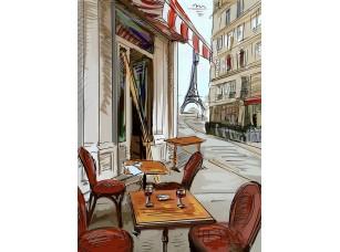 Фотообои «Рисунок парижского кафе»