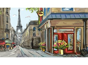 Фотообои «Прекрасный рисунок улицы в Париже»
