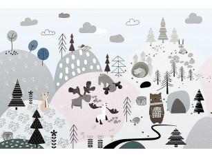 Фотообои «Woodland-рисованный лес с животными»