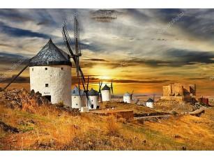 Фотообои «Ветряные мельницы на закате»