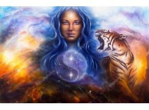 Фотообои «Богиня Лада с  цаплей и ревущим тигром»