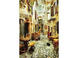Фотообои «Уютная улочка с маленькими кафе»