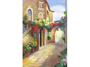 Фотообои «Живописная улочка с множеством цветов»