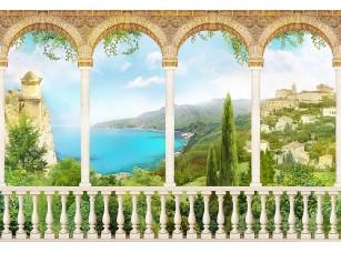 Фотообои «Большой балкон с видом на природу и город»