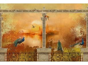 Фотообои «Балкон с птицами на закате»