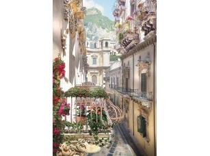 Фотообои «Узкая улочка с цветочными балконами»