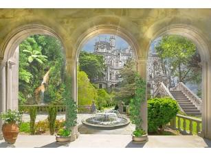 Фотообои «Веранда с колоннами и фонтаном»