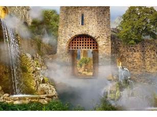 Фотообои «Внутри замка с водопадами»