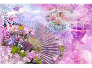 Фотообои «Абстракция в розовом цвете с веером»