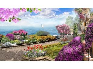 Фотообои «Живописная улочка с розовыми цветами»