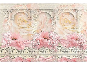 Фотообои «Абстракция с арками и цветами»