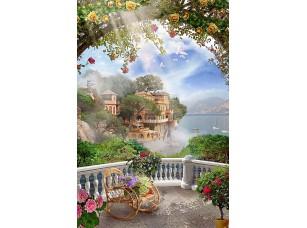 Фотообои «Веранда с креслом-качалкой и цветами»