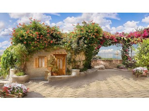 Фотообои «Милая улочка с цветами и маленьким домом»