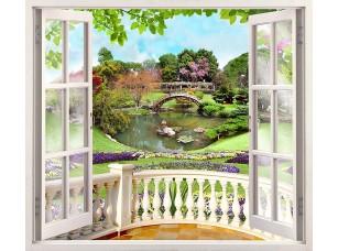 Фотообои «Веранда с видом на зеленый сад»