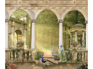 Фотообои «Веранда с птицами и видом на сад»